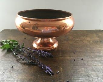 vintage copper bowl footed copper bowl copper vessel