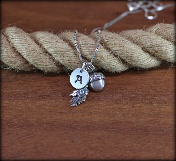 Sterling silver acorn necklace,  nature necklace, autumn jewelry, acorn and oakleaf jewelry