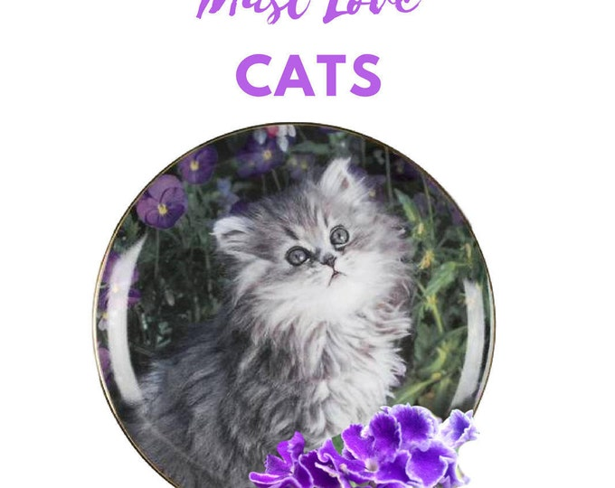 Plates With Cats, Franklin Mint, Purrfection, Kitten Cat Collectible, Nancy Matthews Cats, Gift For Christmas, Gift For Cat Lovers