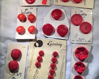 RED PLASTIC BUTTONS on Cards  Vintage  24 Buttons