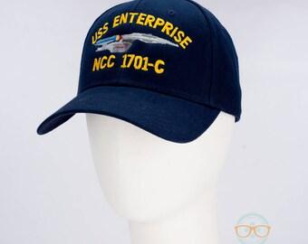 Star Trek Hat - The Next Generation TNG - USS Enterprise 1701-C - Embroidered Geeky Baseball Cap - Naval Hat Inspired