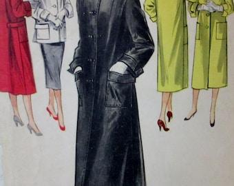 Vintage 1955 McCalls  #3330  Misses' Junior  Coat or Topper Pattern Size 12  Bust Size 30