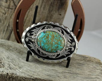 Western Belt Buckle - Turquoise Belt Buckle - Cowboy Belt Buckle -Silver Tone & Black Belt Buckle with a Genuine Kingman Turquoise Stone