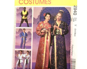 McCall's 2940, Asian Inspired Costumes, Oriental Kimono, Ninja, Karate Robe, Pants, Sml-Med and Lrg-Xlg, Cosplay, Halloween, Pageant, Uncut