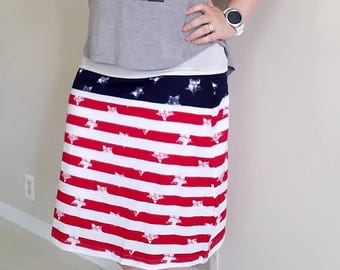 Patriotic, Stars and Stripes, America Knit Skirt