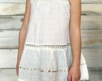 Vintage Girls Mexican Crocheted Gauze Boho Dress 3