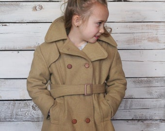 Adorable Vintage Children's Wool Beige Double Breasted Pea Coat