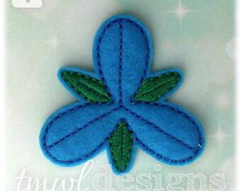 """3 Petal Blue Troll Hair Flower Feltie Digital Design File - 1.75"""""""