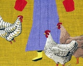 Chicken Card, Chickens, Hens, Free Shipping, Farmer's Wife, Farm Card, Yellow Boots, Rubber Boots, 5x7 Card, Folk Art Card, Kelly Burgess