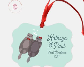 Otter Christmas Ornament Personalized for Newlyweds - First Married Christmas Ornaments Wedding