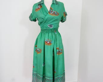 1950s - 70s Souvenir Pure Silk Skirt and Wrap-around Blouse from Capri