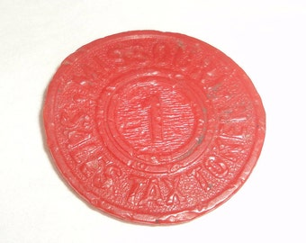 Missouri Sales Tax Vintage Red Plastic 1  Token Collectible Vintage