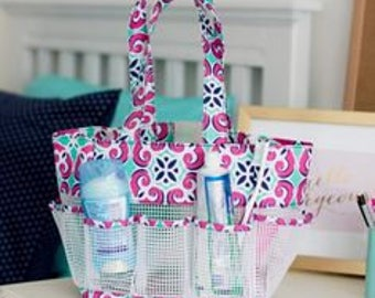 Personalized Pink Mint Tile Shower Caddy Monogrammed Shower Caddy