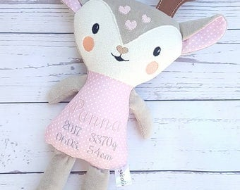 Softy deer-Caribou deer- Birth stats- Present-Keepsake-Christmas-Rag doll-Gift for babies-Animal Toy-Softy-Babyshowers-Cuddle