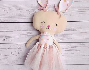 Fabric bunny-Cloth rabbit-Softy-Present for Easter-Dress up doll-Girl bunny- Gift for babies- Toddlers-Comforter-Plushie