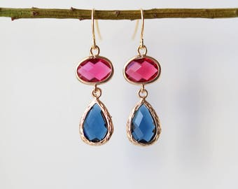 Sapphire Ruby Earrings - Gold Dangle Earrings - Stone Earrings - Drop Earrings - Birthstone Earrings - Blue Earrings - Gold Earrings