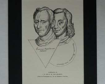 1930s Antique Print of Jan Baptist and Franciscus Mercurius van Helmont, Available Framed, Occult Art, Old Chemistry Picture, Alchemy Gift