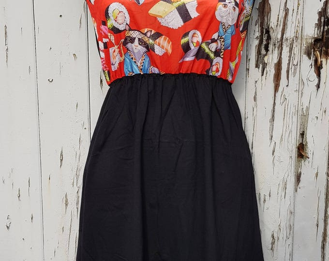 Red Sushi Cats Black Skater Dress - Size 10 12 14 - Kitten Japanese