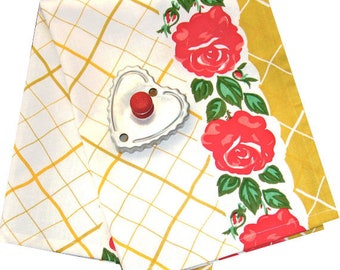 Kitchen Towel in Cotton, Prairie Kitchen Tea Towel Yellow and Red