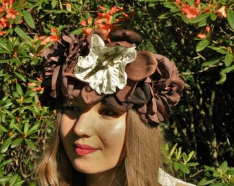 Steampunk flower crown/Victorian/vintage/brown/gold/lace/adjustable/flower fairy/boho/scissors/hair garland/wreath/wedding/festival