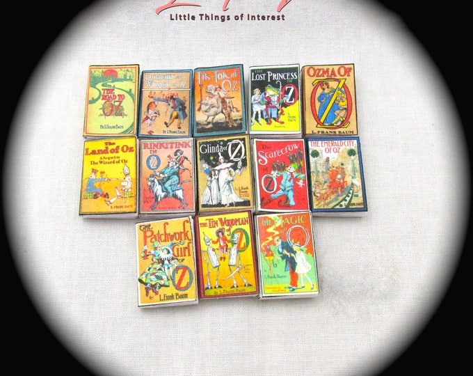 1:6 Scale LAND OF OZ Set of 13 Prop Books Wizard of Oz Miniature Faux Play Scale Wonderful Wizard of Oz Emerald City of Oz Scarecrow of Oz
