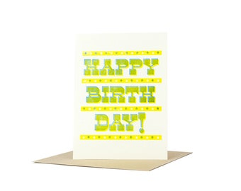 Happy Birthday Greeting Card Letterpress Printed Slab Serif Typographic Design in Yellow, Blue, & Green on Cream Paper with a Kraft Envelope