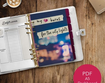 A5 Planner Dashboard | Printable Dashboard | Planner Dashboard| A5 Dashboard | Printable Planner | PDF Printable | Heart Burns City Lights