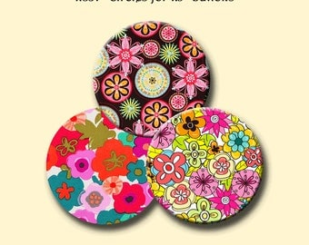 "RETRO FUNKY FLOWERS - 30 x 1.837 inch round images for 1.5"" buttons. Instant Download #207."