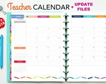 2017-2018 Teacher Planner Calendar, PDF Printable Pages, Inserts - August 2017-July 2018, Printable Covers, Dividers, Teaching, Letter Size