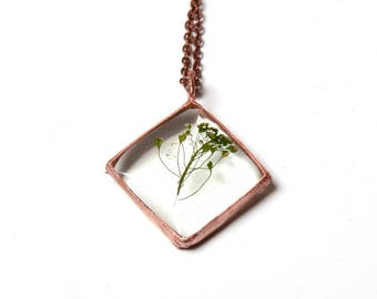 resin botanical necklace, minimal flower jewelry, mom gift, copper pendant, electroformed, nature gift