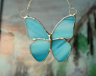 blue butterfly necklace, stained glass pendant, summer jewelry, romantic boho necklace, gift for her