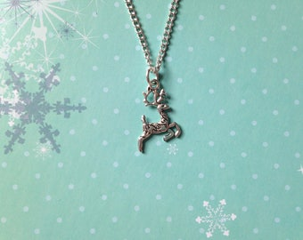 Reindeer Necklace, Christmas in July Necklace, reindeer jewelry jewellery, christmas xmas necklace jewelry jewellery, winter necklace