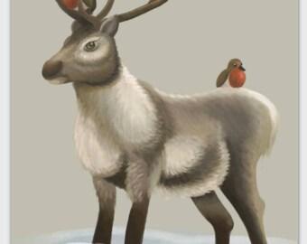 Reindeer & Robins greeting card