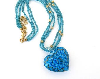 Vintage Blue and Gold Art Glass Heart Pendant Necklace, Hand Blown Glass Blue Heart Pendant Statement Necklace, Blue Necklace