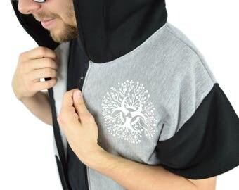Bio Hazard Cyber Rave Short Sleeve Zip Up Hoodie
