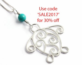 Handmade Sterling Silver Wire Filigree Turtle Pendant with Turquoise Gemstone Bead. Summer Sale 30% off
