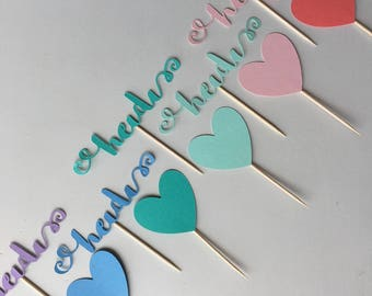 Pastel rainbow ombré cupcake toppers - set of 12 names and hearts