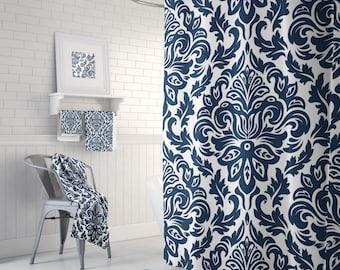 Bathroom Curtains, Shower Curtain, Navy Shower Curtain, Damask Shower Curtain, Bathroom Decor, Shower Curtains, Bath Curtain, 71 x 74