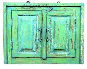 Bohemian Mirror, Rustic Wall Mirror,Window Mirror,Shabby Chic Mirror,Living Room Mirror,Wall Mirror,Rustic Wall Decor, green mirror,