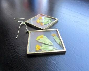 Pressed flower earrings Cowslip earrings Real plant earrings Large dangle earrings Botanical earrings Nature earrings Botanical jewelry