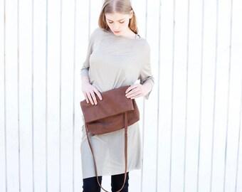 Large Leather Clutch Purse, Fold Over Purse, Women Cross Body Bag, Leather Handbag, Diesel Brown Leather Crossbody Purse - Brown Camden