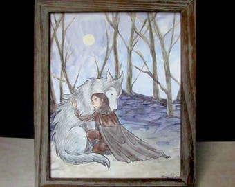 """Arya & Nymeria Game of Thrones Watercolor Painting Digital Download """"That's Not You"""""""