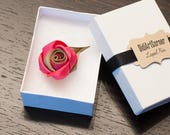 Rose Lapel Pin / Rose Boutonniere / lapel pin flower / Men's Lapel Pin / Lt Azalea and Khaki Gold Lapel Pin / lapel pins men