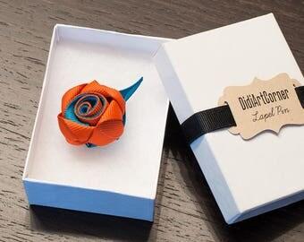 Rose Lapel Pin / Rose Boutonniere / lapel pin flower / Men's Lapel Pin / Oasis and Antique Orange Rose Lapel Pin / lapel pins men