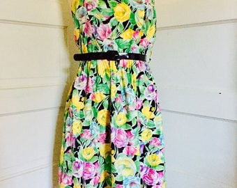 1980's Womens Vintage Floral Print Strapless Boning Sundress Small Medium 6 - 10