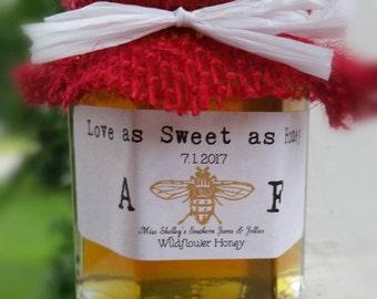 Fall Wedding Favors - 130 (2oz) Honey Jar Favors - Rustic Favors - Wedding Favors - Bridal Shower Favors - Personalized - Baby Shower Favors