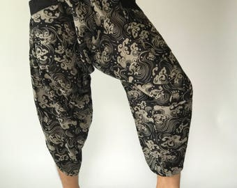 HC0108 Samurai Pants Men's Fashion Harem Pants Yoga Pants Casual Cotton Bottoms