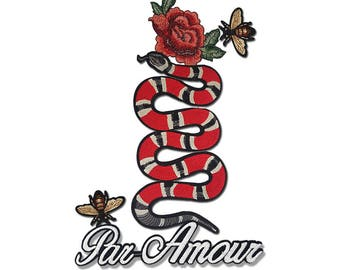 Embroidered Snake Patch Applique, Bulk Mix Patches Badges