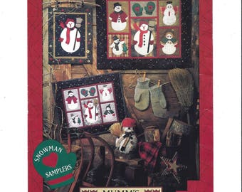 Snowman Samplers Pattern, Mumm's the Word, Wall Hangings, Miniature Quilts, Penstitch Applique, 1994, Debbie Mumm, Vintage Pattern, UNCUT