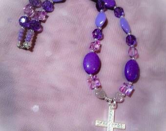 Purple Beads with Cross